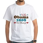 Vote Obama 2008 For Change White T-Shirt