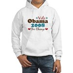 Vote Obama 2008 For Change Hooded Sweatshirt