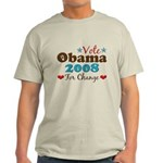 Vote Obama 2008 For Change Light T-Shirt