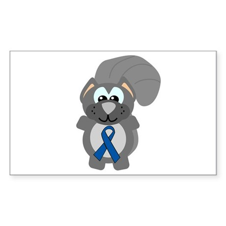 Blue Awareness Ribbon Goofkins Squirrel Sticker (R