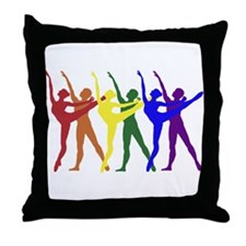 Rainbow of Dancers Throw Pillow