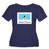 Saint Lucia Flag Women's Plus Size Scoop Neck Dark