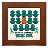 Teal Frogs 2 Framed Tile