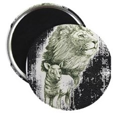 "Lion and the lamb 2.25"" Magnet (10 pack)"