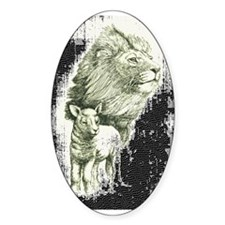 Lion and the lamb Oval Bumper Stickers