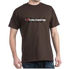 I heart Bernese Mountain Dogs Brown T-Shirt