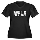 Nyla Faded (Silver) Women's Plus Size V-Neck Dark