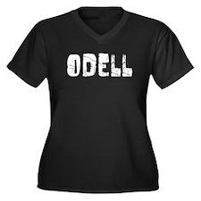 Odell Faded (Silver) Women's Plus Size V-Neck Dark
