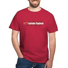 I heart Australian Shepherds Red T-Shirt