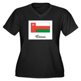Oman Flag Women's Plus Size V-Neck Dark T-Shirt