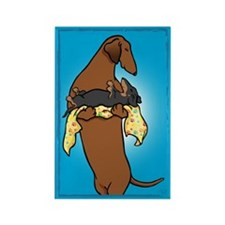 Weiner Dog and Puppy Rectangle Magnet (10 pack)