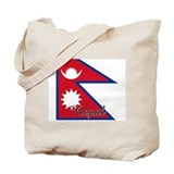 Nepal Flag Tote Bag