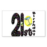 21st Birthday Rectangle Decal