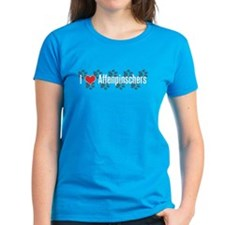 I heart Affenpinschers Women's Blue T-Shirt