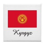 Kyrgyz Flag Tile Coaster