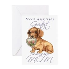 Dachshund I Love Mom Greeting Card