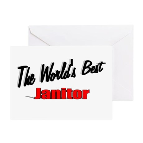 &quot;The World's Best Janitor&quot; Greeting Cards (Pk of 1