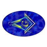 Masonic Square and Compasses Oval Sticker