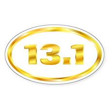 13.1 Gold Marathon Runner Oval Decal