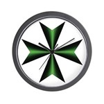 Green Maltese Cross Wall Clock