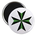 Green Maltese Cross Magnet