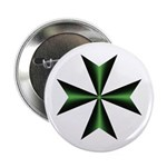 Green Maltese Cross Button