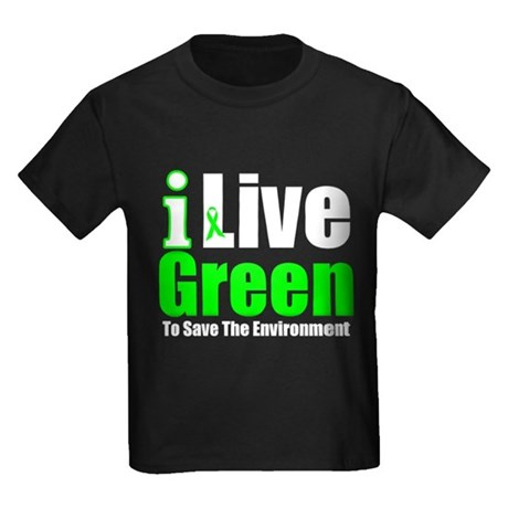 I Live Green Environment Kids Dark T-Shirt