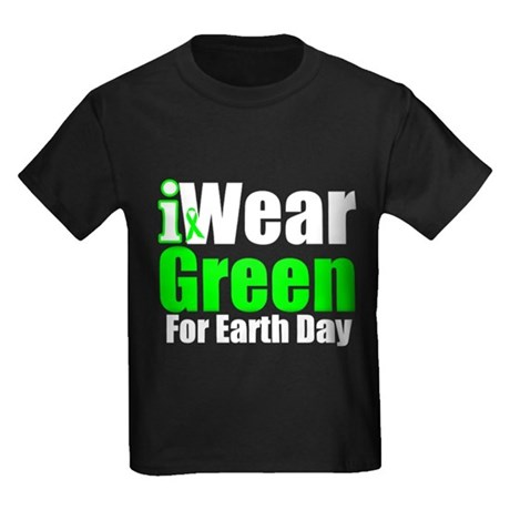 I Wear Green Earth Day Kids Dark T-Shirt