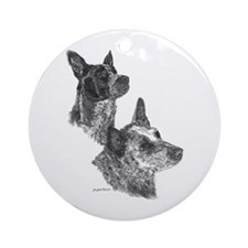 Blue Heeler & Red Heeler - ACD Ornament (Round