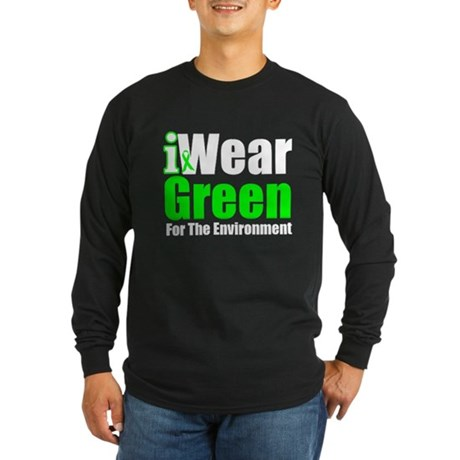 I Wear Green Environment Long Sleeve Dark T-Shirt