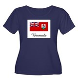 Bermuda Flag Women's Plus Size Scoop Neck Dark T-S
