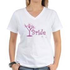 Pink Curly Martini Bride Shirt