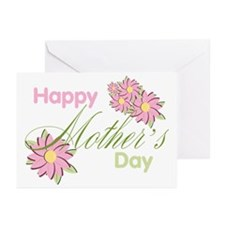 Happy Mother's Day Pink Flowers Greeting Cards (Pk
