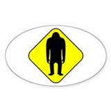 Sasquatch Road Sign Oval Decal