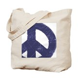 Vintage Blue Peace Sign Tote Bag