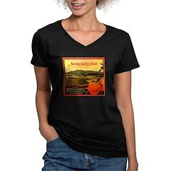 Moval Fruit Women's V-Neck Dark T-Shirt