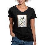 Audubon Towhee Bird (Front) Women's V-Neck Dark T-