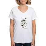 Audubon Towhee Bird (Front) Women's V-Neck T-Shirt