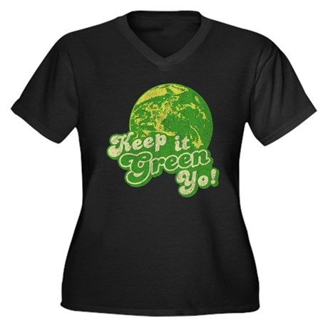 Keep it Green Yo! Womens Plus Size V-Neck Dark T-