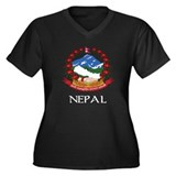 Nepal Coat of Arms Women's Plus Size V-Neck Dark T