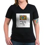 Quilters - Around the Block Women's V-Neck Dark T-
