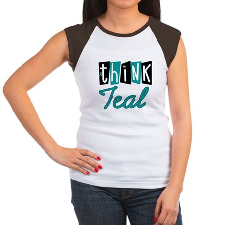Think Teal Ovarian Cancer Women's Cap Sleeve T-Shi