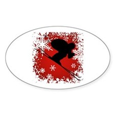 SKI DOWNHILL (RED) Oval Sticker (10 pk)