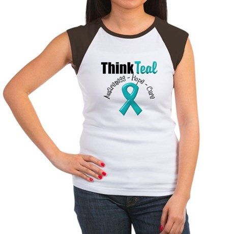 Ovarian Cancer Think Teal Women's Cap Sleeve T-Shi