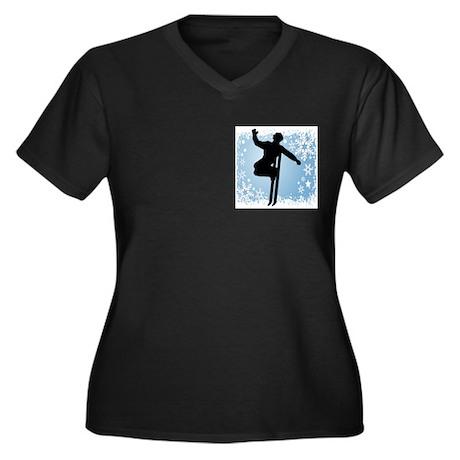 SKI JUMP (BLUE) Women's Plus Size V-Neck Dark T-Sh