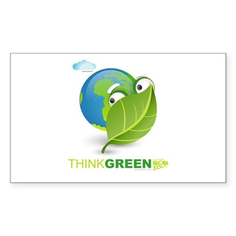 Think Green Rectangle Sticker 10 pk)