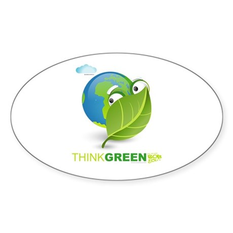Think Green Oval Sticker (10 pk)