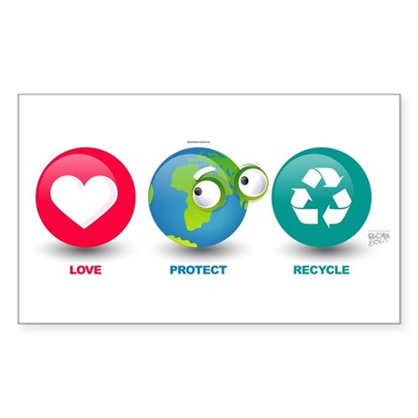Love, Protect, Recycle Rectangle Sticker 10 pk)