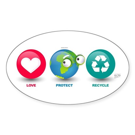 Love, Protect, Recycle Oval Sticker (10 pk)