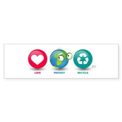 Love, Protect, Recycle Bumper Sticker (10 pk)